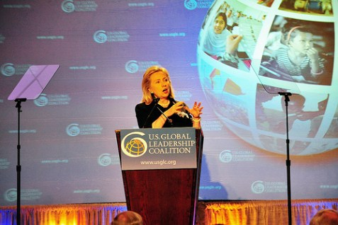 U.S. Secretary of State Hillary Rodham Clinton delivers remarks to the 2011 U.S. Global Leadership Coalition Conference in Washington, D.C.