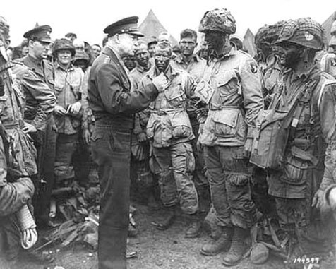 General Dwight D. Eisenhower giving orders to American paratroopers in England. (D-Day, June 6, 1944)