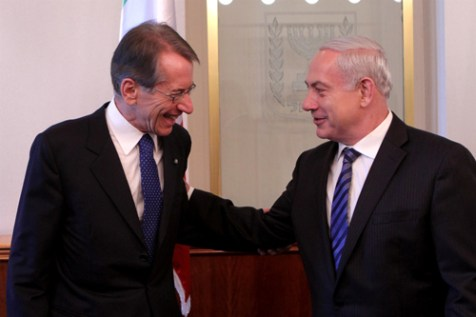 Israeli PM Benyamin Netanyahu with Italian Foreign Minister Giulio Terzi, Sep. 5, 2012.