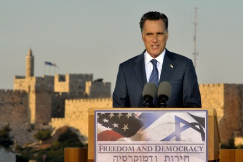 Republican US Presidential candidate Mitt Romney holds a press conference in Jerusalem,  July 29, 2012