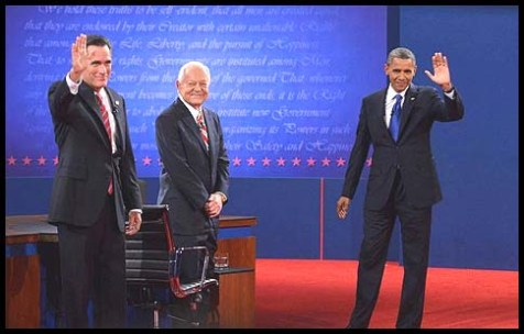 Bob Schieffer (C.) with candidates Mitt Romney and Barack Obama Monday night.