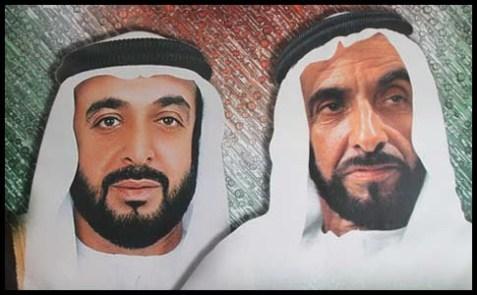 Current United Arab Emirates president Sheikh Khalifa Bin Zayed Al Nahyan, the Ruler of Abu Dhabi (L) and his late father, Sheikh Zayed Bin Sultan Al Nahyan.