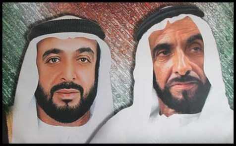 Current United Arab Emirates president Sheikh Khalifa Bin Zayed Al Nahyan, the Ruler of Abu Dhabi (L) and his late father, Sheikh Zayed Bin Sultan Al Nahyan.