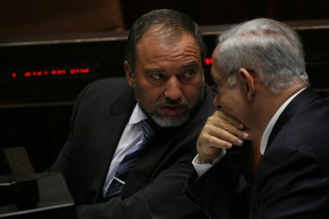 A little gratitude, perhaps? Liberman consults with Netanyahu last year.