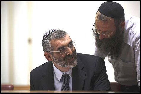 MK Michael Ben-Ari with his parliamentary aide Baruch Marzel.