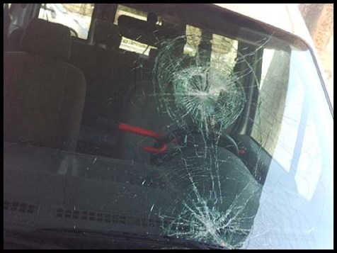 Illustrative Photo: Arab stone throwing hits a windshield.