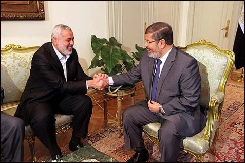Egyptian President Mohammed Morsi, right, meeting Hamas Gaza Prime Minister , Ismail Haniyeh in Cairo.