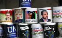 Mugs on display at a souvenir shop in Gaza show the political figures admired by the local population (left to right): Egyptian President Mohamed Morsi, PA President Mahmoud Abbas, U.S. President Abu Hussein, and Hamas leader Khaled Mashaa.
