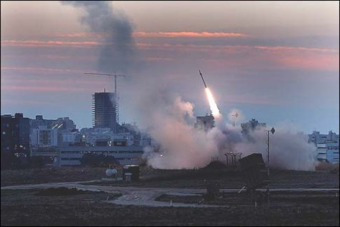 The Iron Dome defense system fires to interecpt incoming missiles from Gaza in Ashdod, Thursday, Nov. 15, 2012.