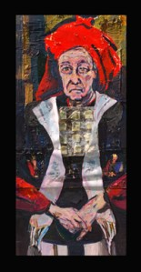 High Priest (Arnie) (2012) Acrylic and collage on canvas by Joel Silverstein Courtesy the artist