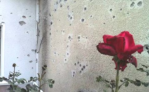 Rocket shrapnel hit the walls of a western Negev kibbutz home.