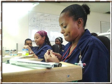Ethiopian students learning jewelry-making at Yvel's Megemeria School of Jewelry and Art.