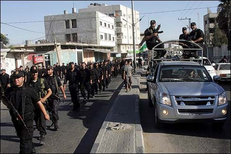 Members of Hamas security forces patrol in Rafah, near the border with Egypt.