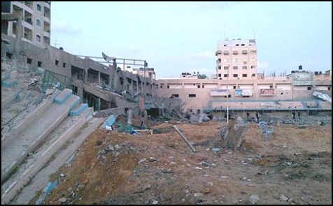 Gaza's soccer stadium doubled as rocket launching site and was demolished.