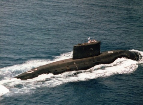 Iranian submarine at sea.