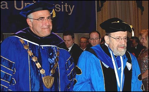 YU President Richard Joel (L) with past President Rabbi Dr. Norman Lamm.