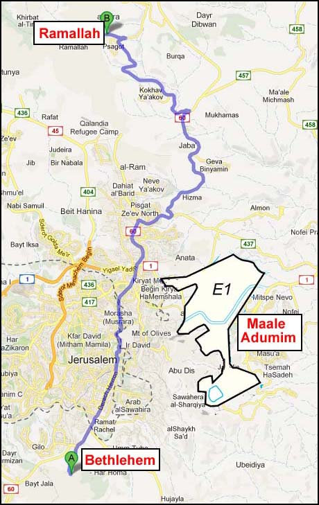 The E1 zone will connect Maale Adumim with East Jerusalem. (E1 section is enhanced for illustration purposes and not proportionately accurate).