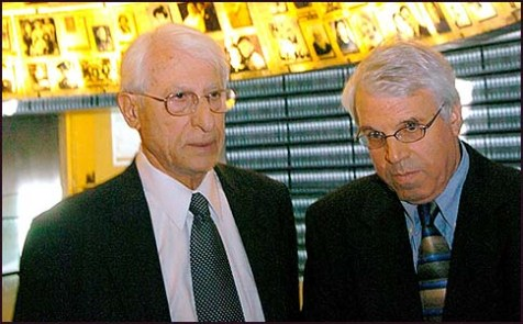 Former Foreign Ministry Director Alon Liel (R), with Dr. Ibrahim Suleiman, a Syrian representative in talks about returning the Golan Heights to Assad.