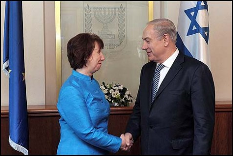 Catherine Ashton, high representative for foreign affairs and security policy of the European Union, meets with Israeli Prime Minister Benjamin Netanyahu at Netanyahu's office in Jerusalem On October 24.