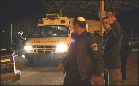 The scene where an Israeli female border guard shot dead a young Arab terrorist to save her partner's life in Hebron.