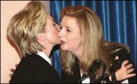 Hillary kissing Suha Arafat.