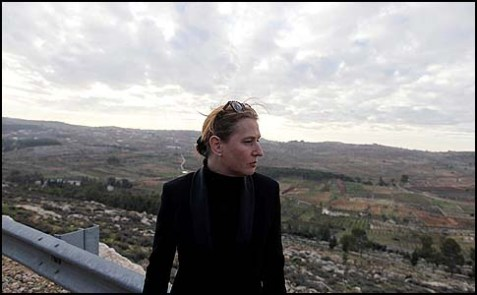 Tzipi Livni stands on an observation next to the town of Efrat in Gush Etzion, December 19, 2012.