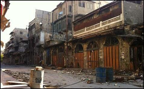A Street scene in Aleppo, Syria.
