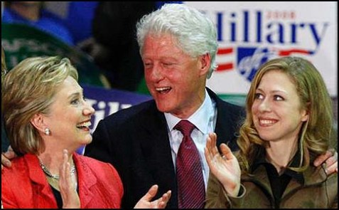 Hillary, Bill and Chelsea Clinton