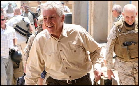 Sen. Chuck Hagel in Iraq.