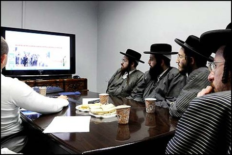 Toldos Aharon hasidim received permission to attend a lecture on computers and the Internet, February 2, 2012.