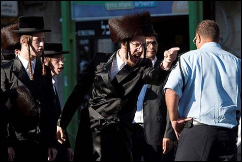 Haredi residents of the Meah Shearim neighborhood of Jerusalem clashing with police, June 9, 2012.