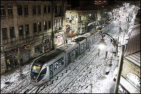 The Jerusalem Light Train on Jaffa Street. Photo: Miriam Alster/FLASH90