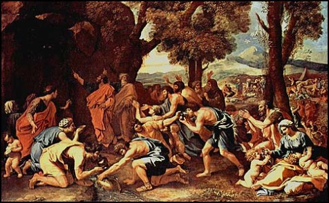 Moses Strikes Water from a Rock, by Nicolas Poussin (1594-1665).