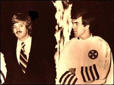 Klansman David Duke (L) with neo-Nazi Klansman Don Black, in the good old 1980's, before Duke started following Jewish bloggers for his anti-Semitic fodder.