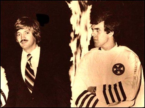 Klansman David Duke (L) with neo-Nazi Klansman Don Black, in the good old 1980's, before Duke started following Jewish bloggers for his anti-Semitic fodder.