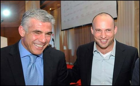 Yesh Atid&#039;s Yair Lapid (L.) Habayit Hayehudi&#039;s Naftali Bennett.