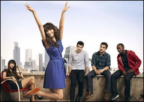 (From left) Hannah Simone, Zooey Deschanel, Max Greenfield, Lamorne Morris and Jake Johnson in &quot;New Girl.&quot;