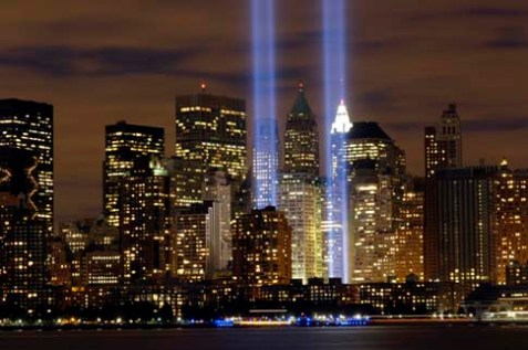 "The ""Tribute in Light"" memorial is in remembrance of the events of Sept. 11, 2001. The two towers of light are composed of two banks of high wattage spotlights that point straight up from a lot next to Ground Zero. This photo was taken from Liberty State Park, N.J., Sept. 11, the five-year anniversary of 9/11."