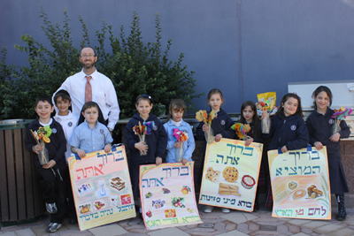 Rabbi Paris and his 2nd-grade class at the annual Tu B'Shevat Berachos Fair at Yeshiva Day School of Las Vegas.