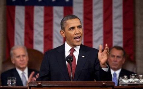 President Barack Obama delivering the State of the Union address in January 2012.