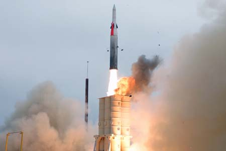 Arrow missile launch in California.