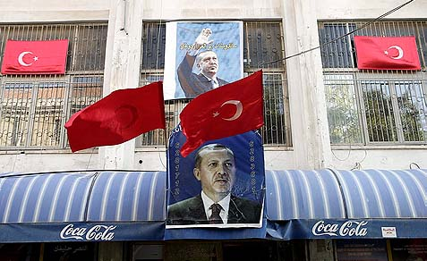 Posters of Turkish Prime Minister Erdogan outside a kebab restaurant in East Jerusalem.