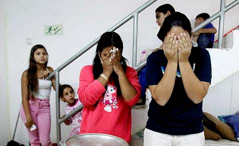 An Israeli family welcome the entrance shabbat in a bomb shelter in the southern city of Ashkelon.