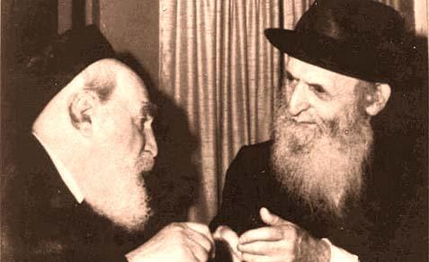 "Rav Moshe Feinstein ZT""L (left), Rav Yosef Eliyahu Henkin ZT""L"