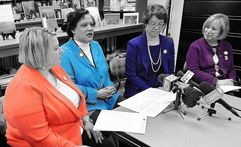 At Friday's press conference, from left: Beth Tidd, associate education project director with the Anti-Defamation League, City School District of Albany Superintendent Marguerite Vanden Wyngaard, Alexandra Streznewski, president of the board of education for the City School District of Albany, and Shelly Shapiro, director of Holocaust Survivors and Friend Education Center and director of community relations at The Golub Center.