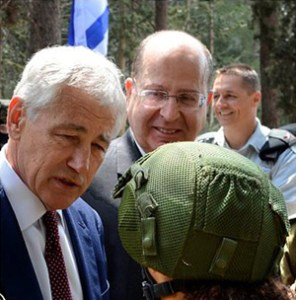 US Defense Secretary Chuck Hagel with Israeli Defense Minister Moshe Ya'alon.
