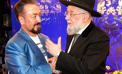Turkish Muslim leader Adnan Oktar meeting with former Israeli Chief Rabbi Israel Lau.