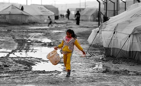 Scene from the Zattari Syrian refugee camp in Jordan.