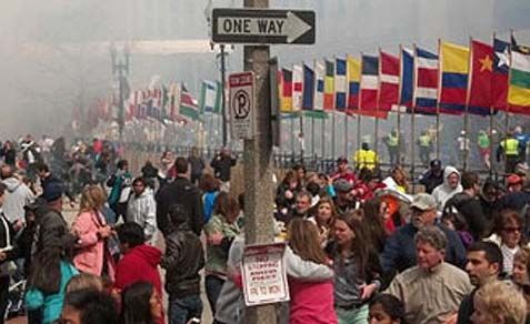 The scene at the Boston Marathon following the deadly explosions.