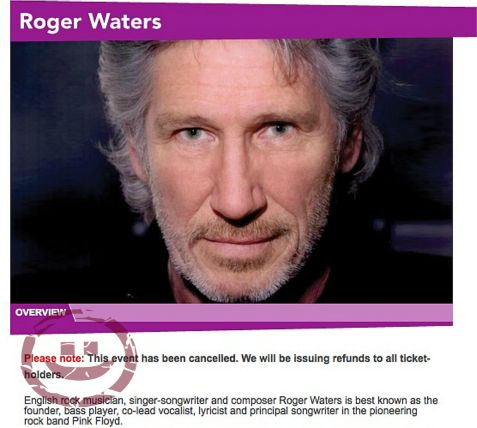 92nd Street Y Concert of Roger Waters, huge promoter of economic boycott of Israel, has been cancelled.